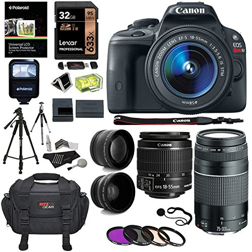 "Canon EOS Rebel SL1 Digital SLR, 18-55mm STM Lens, EF 75-300mm f/4-5.6 III Lens, Lexar 32GB Memory Card, Canon Bag, 50"" Tripod and Accessory Bundle"
