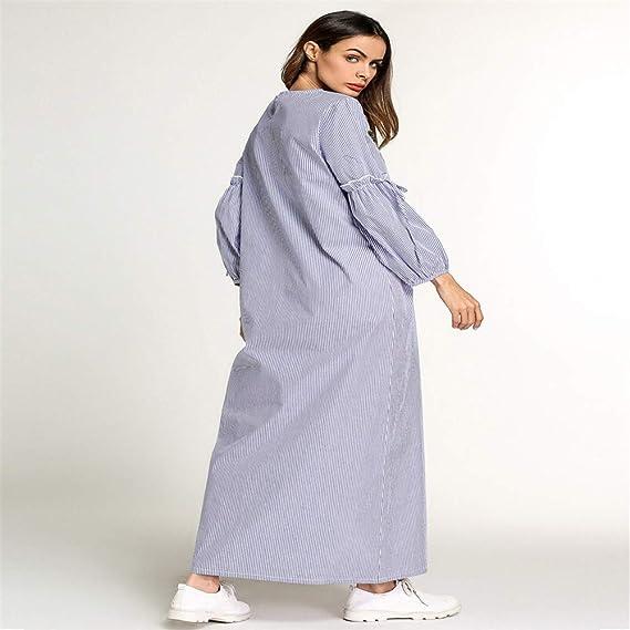 Cvbndfe Cómodo Perfume musulmán de Manga Larga para Mujer Vestido a Rayas Manta árabe de Oriente Medio Elegante (tamaño : XL): Amazon.es: Hogar