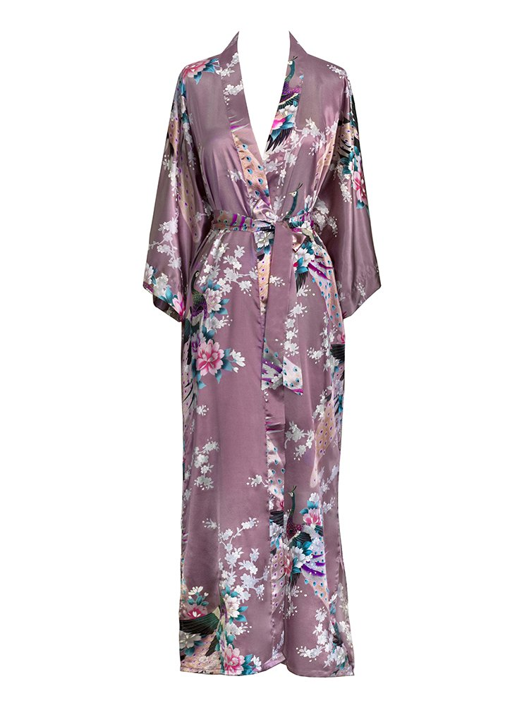Old Shanghai Women's Kimono Long Robe - Peacock &, Purple, Size One Size.