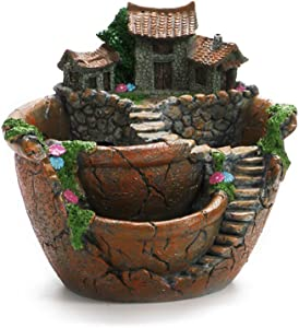 OUNONA Plant Pot, Mini Garden Pot Container Fairy Garden Pot with Sweet House Tabel Decor for Home Office Living Room (Orange)