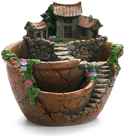 OUNONA Macetas para flores macetas de jardín con casa dulce (naranja): Amazon.es: Jardín