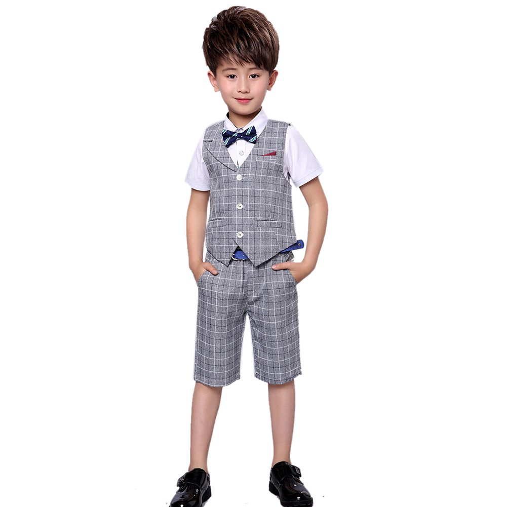 Uwback Boys Summer Plaid Suit 2 Pieces Vest and Pants Gray CN 120