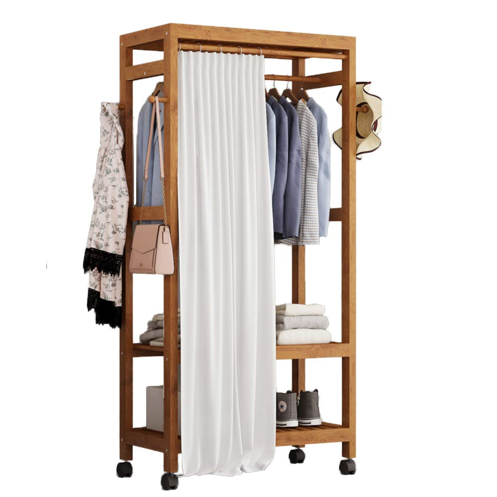 B 69x30x165cm(27x12x65inch) Multipurpose Bamboo Entryway Coat Rack with Shelf, Premium Coat Stand shoes Rack, with Roller Heavy Duty Hall Home-M 50x40x140cm(20x16x55)