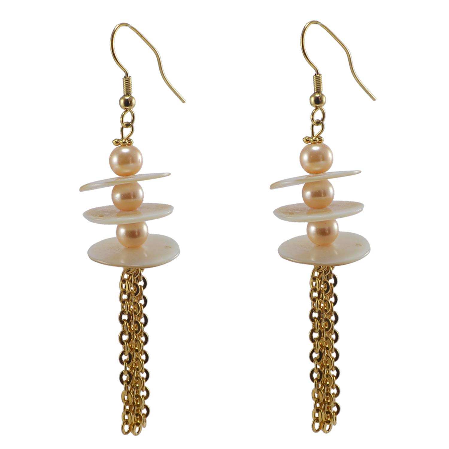 Silvestoo Jaipur Mother of Pearl /& Pearl Gold Plated Dangle Beautiful Earring PG-126538
