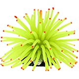 Jardin Silicone Aquarium Fish Tank Mini Sea Anemone Ornament, Yellow Green