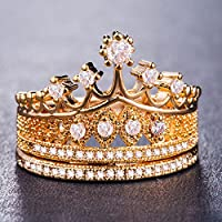 Fashion Queen Crown 925 Silver,gold,rose Gold Ring White Sapphire Ring Size 6-10 (10)