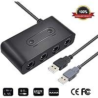 SendowTek Adaptador de Controlador, NGC Gamecube para Wii U/Nintendo Switch/PC, Adaptador de Interruptor 3 in 1 4 Puertos No se Necesitan Controladores