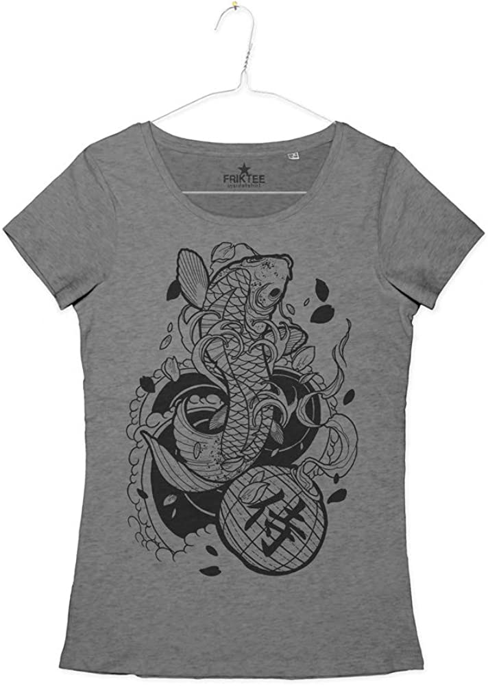 Camiseta de Mujer Tatuaje Carpa Koi Ideogramma Kanji Japanese Koi ...