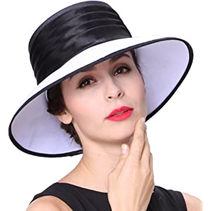 2b68e96b3ce June s young Women Hat Formal Dress Hat Polyester Fabric Feather Ascot Race  Derby Hat Wedding