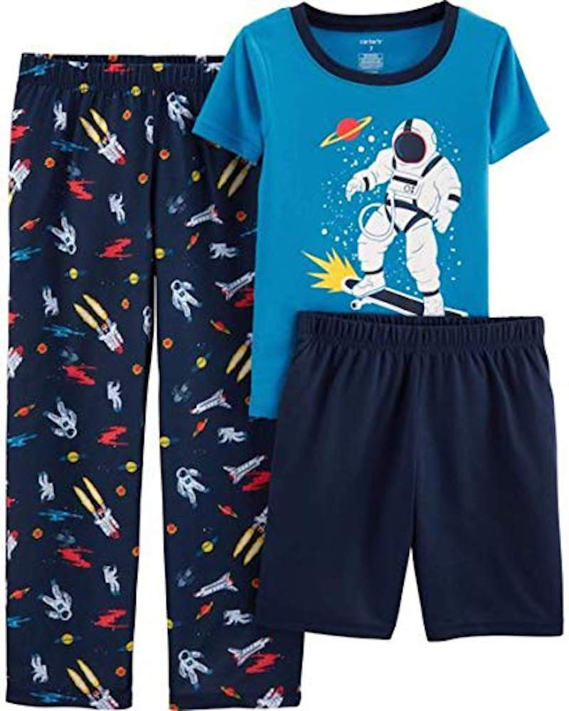 Carter's Boys' 3-Piece Polyester Jersey Pajama Sets (Blue/Space, 5)