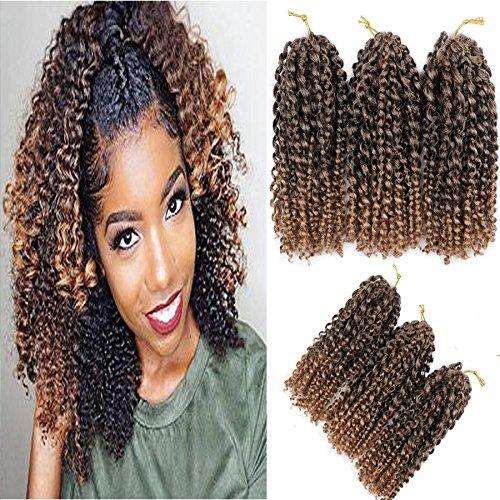 Befunny 6bundles/lot 8 Marlybob Crochet Hair Short Jerry Curly Crochet Braids Deep Twists Wavy Synthetic Marley Braiding Hair Extensions For Black Women (6-6bundles, T1B/30)