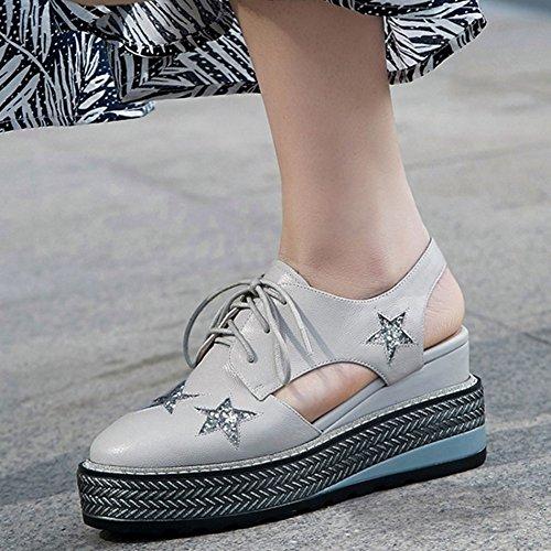 Plataforma 2018 Plata Talón Color tamaño Verano Mujer Sandalias de Grueso Hueco 35 Femenino Ocio Zapatos de Cuero Impermeable Talón 4w1qzWCx