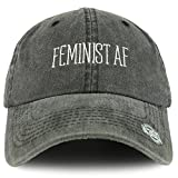 Our Feminist AF Text Embroidered Washed Cotton Unstructured Baseball Cap is a great hat for ladies. This washed cotton dad hat is 100% embroidered with FEMINIST AF on the front. Made of 100% Cotton. Stiff and pre-curved bill. Low profile. Unstructure...