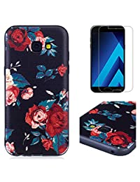 For Sansung Galaxy A5 2017 A520 Case and Screen Protector,OYIME Luxury [Red Rose] Relief Pattern Design Black Silicone Rubber Ultra Thin Slim Fit Bumper Drop Protection Anti-Scratch Protective Back Cover