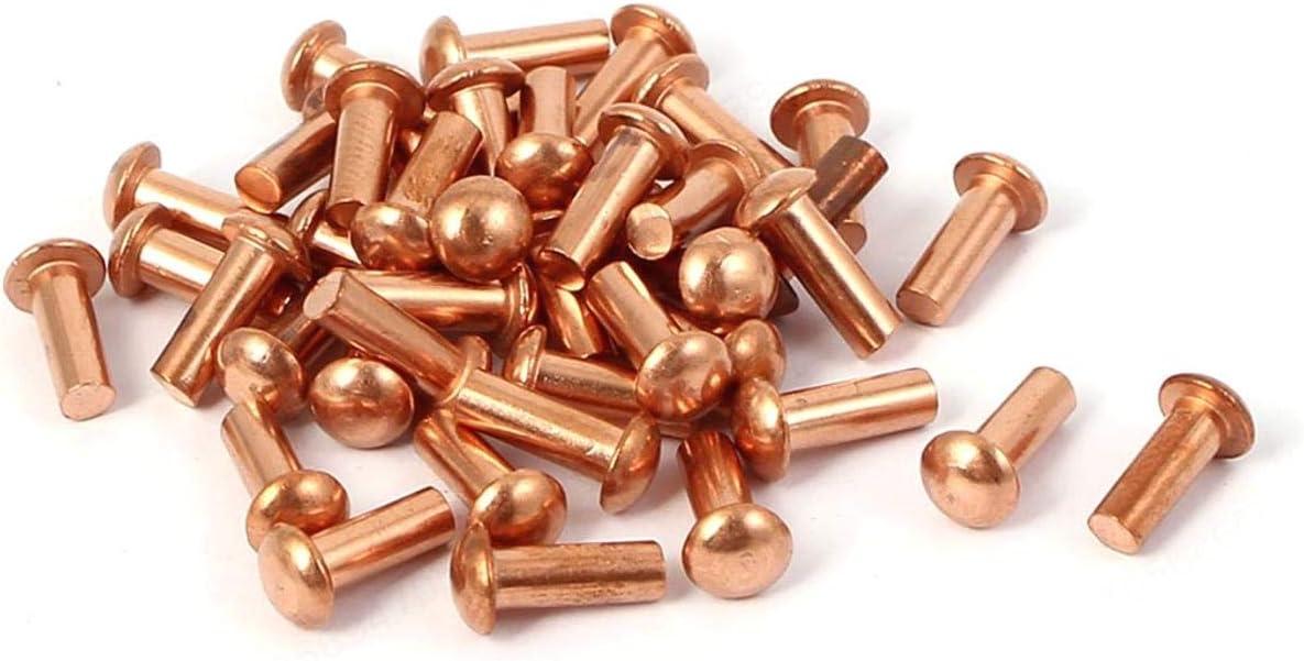 SALAKA Remache s/ólido de Cobre 40 Piezas Oro 3 mm x 8 mm Remache s/ólido de Cobre Eje Redondo Remaches s/ólidos de Cobre Sujetadores Hardware
