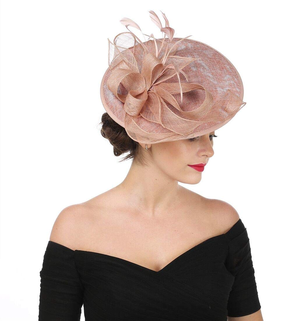 SAFERIN Fascinators Hat Sinamay Flower Mesh Feathers on a Headband and a Clip Wedding Bridal Tea Party Headwear for Girls and Women (TA9-Dark Pink)