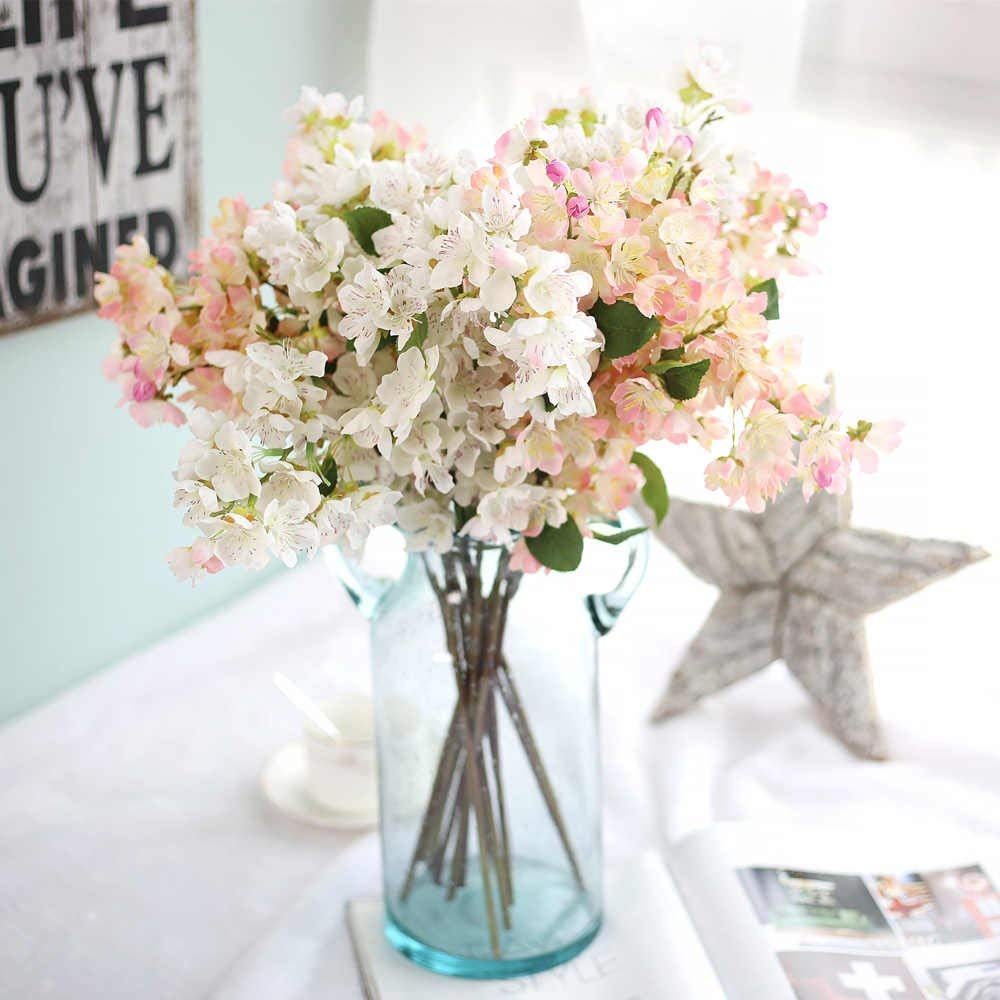 Artificial Flowers Fake Bouquet Home Decor Silk Cherry Blossoms Wedding Bridal