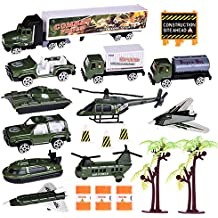 Army Cars Play Set 20pcs Various Kids Toy Cars Diecast Metal Vehicle Playsets Military Trucks Combat Force Vehicles Model with Helicopter, Fighter, Aircraft, Semi Truck, Jeep, Tank and Accessories