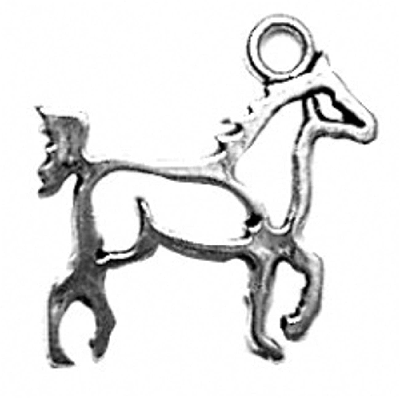 Sterling Silver 7 4.5mm Charm Bracelet With Attached Small Cutout Silhoutte Walking Horse Charm