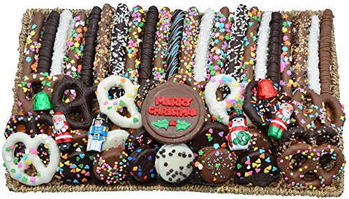 Deluxe Hand-Made Chocolates Christmas Gift Basket (Pretzel/Oreo)