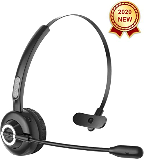 Amazon Com Bluetooth Headset Newest V5 0 Sanfant Trucker Bluetooth Headset With Mic Noise Canceling Flexible 18 Hrs Talk Time Office Wireless Headset On Ear Car Headset For Cell Phone Pc Office Car Black