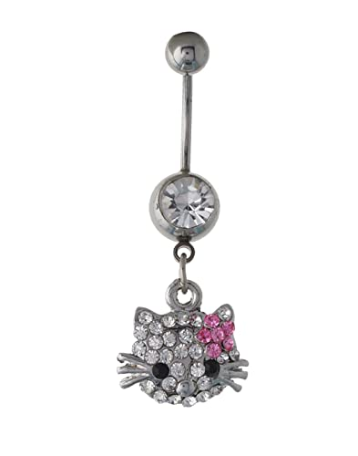 Buy 316l Steel Hello Kitty Belly Button Ring Body Cz Jewelry
