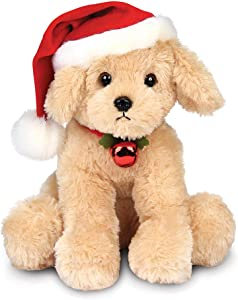 Bearington Santa's Lil' Buddy Musical Animated Holiday Stuffed Animal Toy Dog, 13 inches