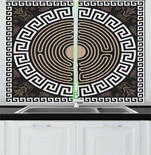 Ambesonne Greek Key Kitchen Curtains, Grecian Fret and Wave Pattern on Dark Background Antique Retro Swirls, Window Drapes 2 Panel Set for Kitchen Cafe, 55 W X 39 L Inches, Dark Brown Coconut Tan