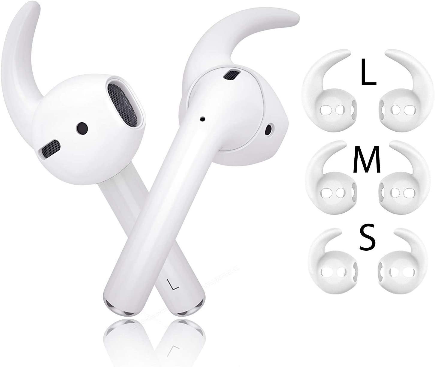 innoGadgets Ear Hooks Compatible with Apple AirPods 1/2 | EarPods Accessories - Silicone Ear Cover Tip Grip | 3 Pairs - Small, Medium & Large – Anti-Slip | White
