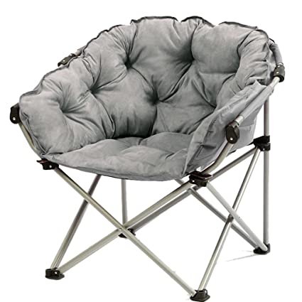 GYH Silla Plegable Moon Chair Grey -Creative Lazy Suede ...