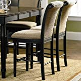 Cabrillo 101829 24 Counter Height Chair with Fabric Rolled Back and Seat in Black and Amaretto Finish