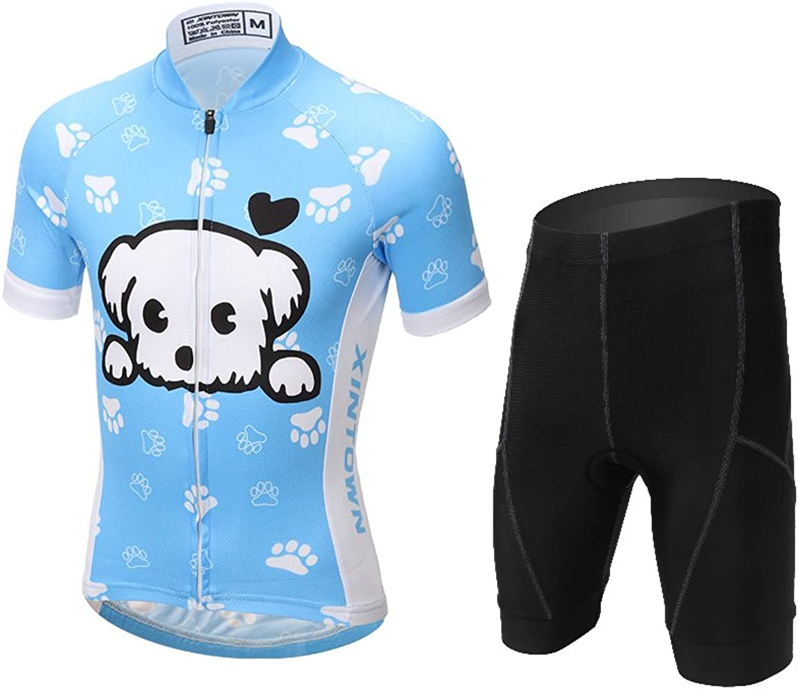 L SERVER Children Boys Girls Cycling Jersey Set Short Sleeve with 3D Padded Shorts