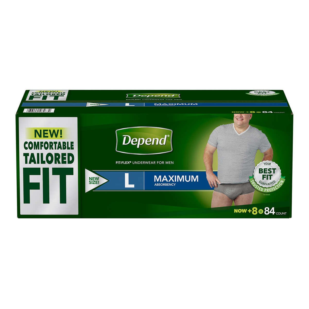 Depend FIT-FLEX Max Absorbency Underwear for Men: LARGE - 84 ct.