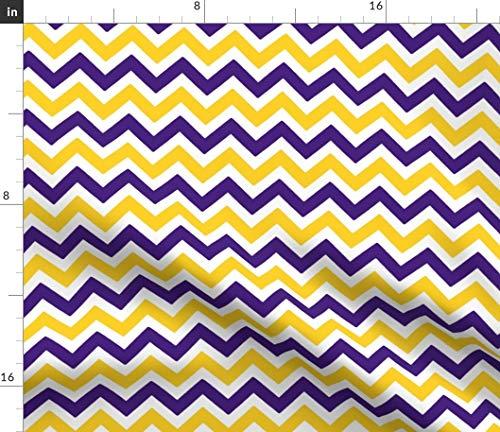 - Spoonflower Louisiana Fabric - Louisiana State Univers Tigers University Purple Yellow Football Chevron Print on Fabric by The Yard - Chiffon for Sewing Fashion Apparel Dresses Home Decor
