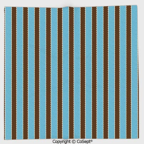 AmaUncle Lightweight Square Towel,White Blue Stripes Bold Lines Zig Zag Wavy Design Image Vintage Print,for Adults Girls Boys Women Men(9.84x9.84 inch),Dark Brown and Turquoise