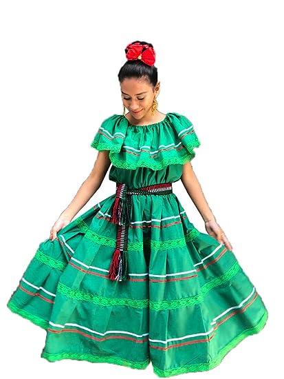 Vestido De Mujer Mexicana Color Verde Talla S M L Xl Se