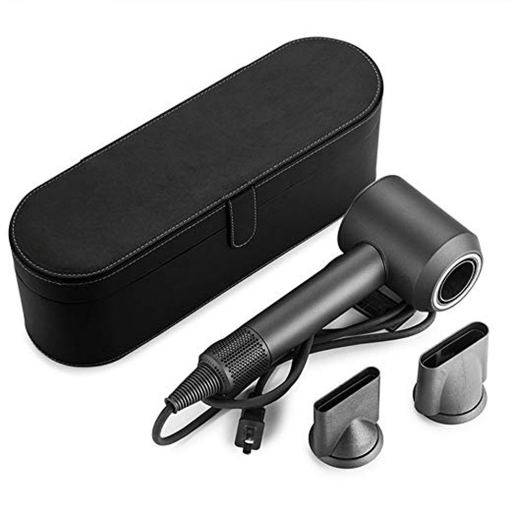 Portable Storage Case Organizer for Dyson Supersonic Hair Dryer, Sensico Magnetic PU Leather Flip Hard Box, Anti-scratch Cover Dustproof and Moistureproof Travel Csae for Dyson Supersonic HD01(Black)