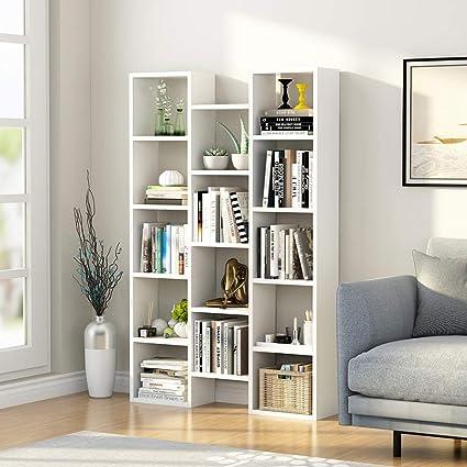 LITTLE TREE 5-Shelf Modern Bookcase, Organizer Storage Bookshelf for Home  Office, Living Room or Bedroom (White)