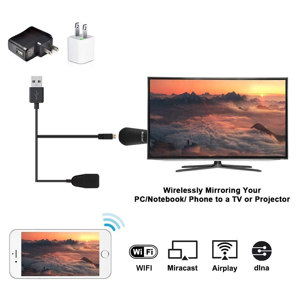 YEHUA Anycast Wireless Display Dongle HDMI Miracast Dongle Mirroring Screen from Phone to TV Compatible DLNA AirPlay for Android Smartphone Tablet Apple iPhone iPad by Yehua (Image #2)