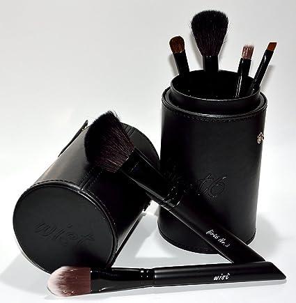 Set de 6 pinceles de maquillaje profesional First6 de Wist, con estuche de piel de alta calidad: Amazon.es: Belleza