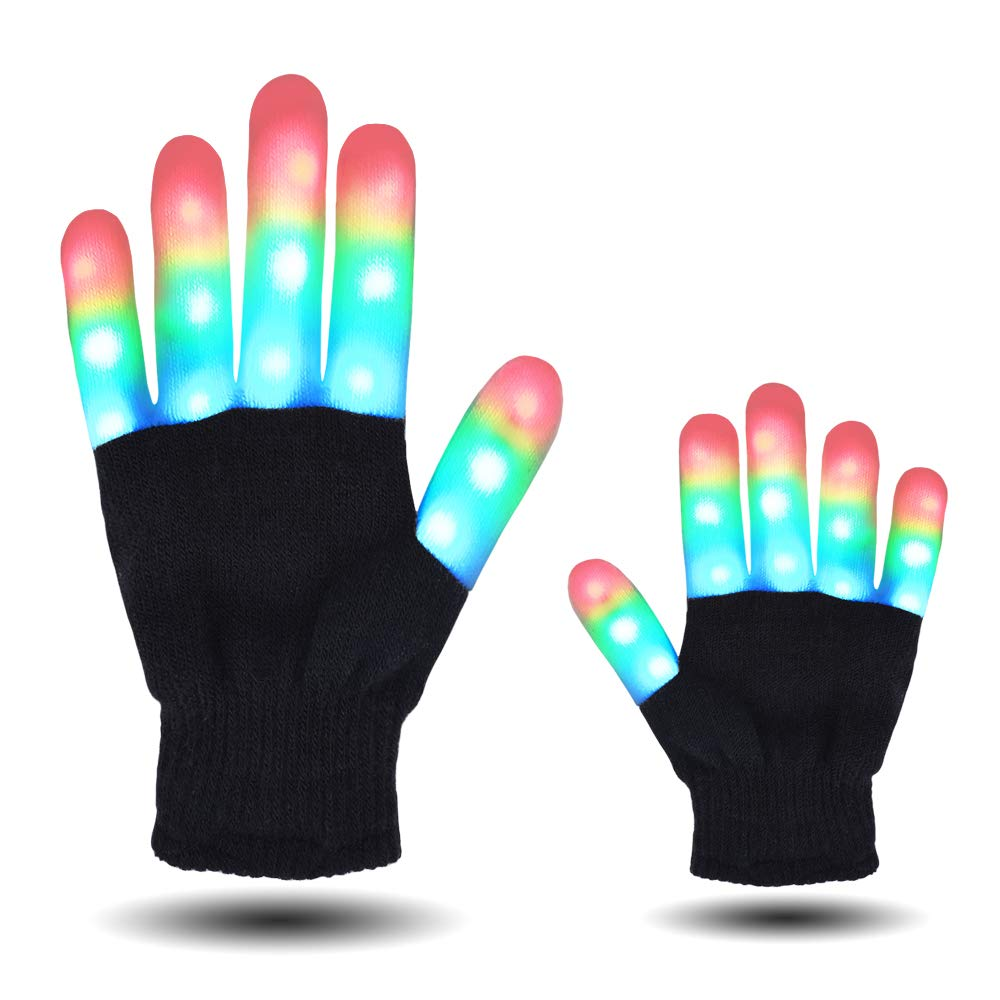 HITOP MAGIFIRE Flashing Colorful LED Light Up Show Gloves, Novelty (Kids, Whole Fingers)