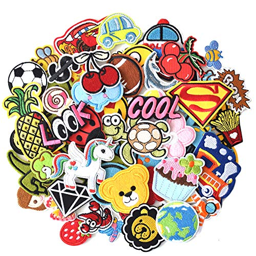 SHELCUPCool Embroidered Iron Patches, for Jackets, Packs, Jeans, Assorted Styles, 60pcs