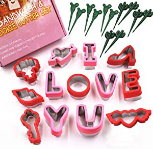 Valentines Day Cookie Cutter Set 25 Piece, I Love You Letters Stainless Steel Cookie Cutter Set, Baking and Food Sandwhich Biscuit Cutters for Holiday, Valentines Party and Baking Gift