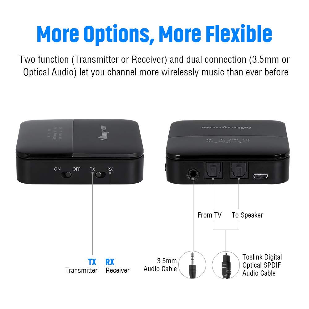 2 in 1 Wireless 3.5mm Aux Bluetooth Audio Adapter aptX Low Latency for Home TV PC Mbuynow Bluetooth 5.0 Transmitter and Receiver