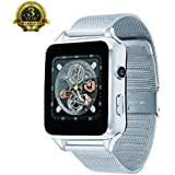 SYT Luxury Smart Watch, Bluetooth Unlocked Cell Phone Watch Upgraded Touch Screen Support SIM TF Card With Camera Pedometer Activity Tracker for iphone IOS Samsung LG Android Phones Men (Silver)
