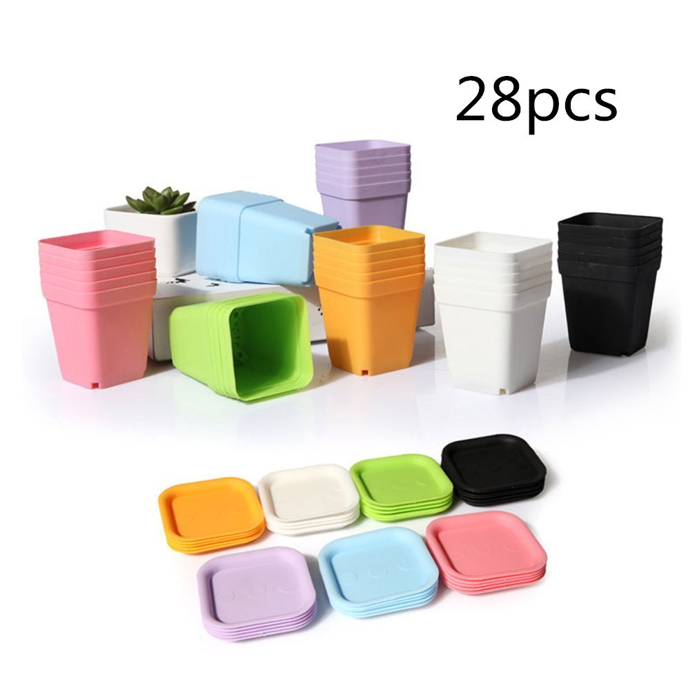 JUMUU 28-Pack Colorful Flower Pots 2.7-inch Square Plastic Plant Pot Succulent Planter Nursery Pots with Saucer for Home Office Garden,Garden Gifts for Men Women 28pcs
