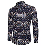 Men Pattern Shirt Flax Plus Size Unique Print Button Down Dress Shirt Zulmaliu(M-5XL) (Navy, L)