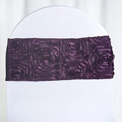 Awesome Balsacircle 10 Eggplant Purple Satin Rosettes On Stretchable Spandex Chair Sashes Wedding Ceremony Reception Decorations Forskolin Free Trial Chair Design Images Forskolin Free Trialorg