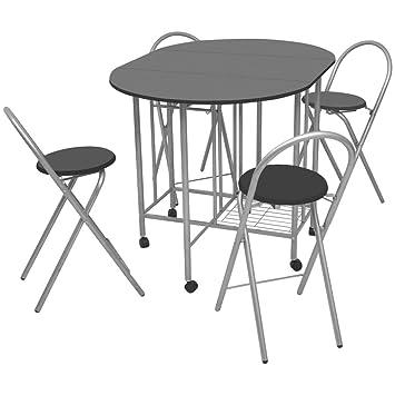 Luckyfu Questa 5 Piezas Conjunto Mesa y sillas Plegables de ...
