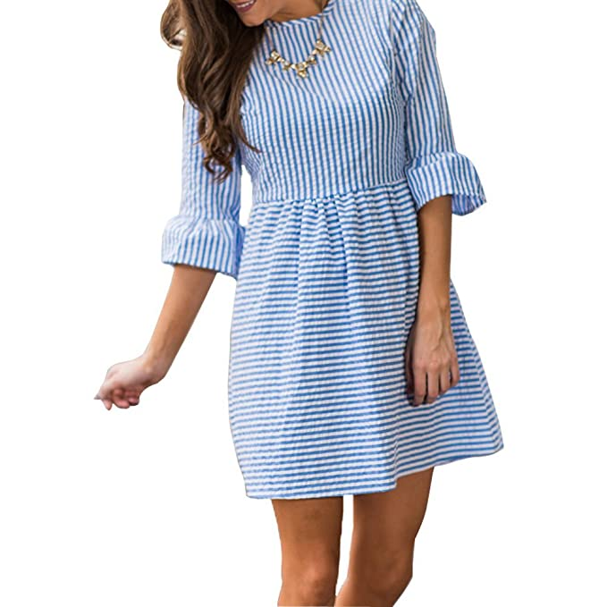 e990139e687 Elisan Women s Summer Casual Stripe Flounce 3 4 Flounce Sleeve Round Neck Seersucker  Babydoll with Bell Sleeves Dress  Amazon.ca  Clothing   Accessories
